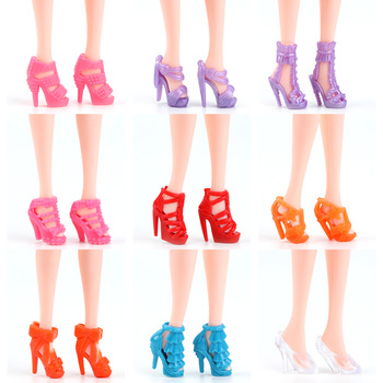 Random 10pcs/Set Doll Accessories Mixed Fashion Cute Shoes For Doll Drop Shipping Wholesale Doll shoes high heels image