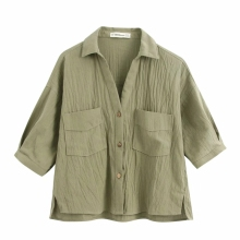Solid Women Patch Pocket Linen Shirt 2020 Fashion Casual Lady