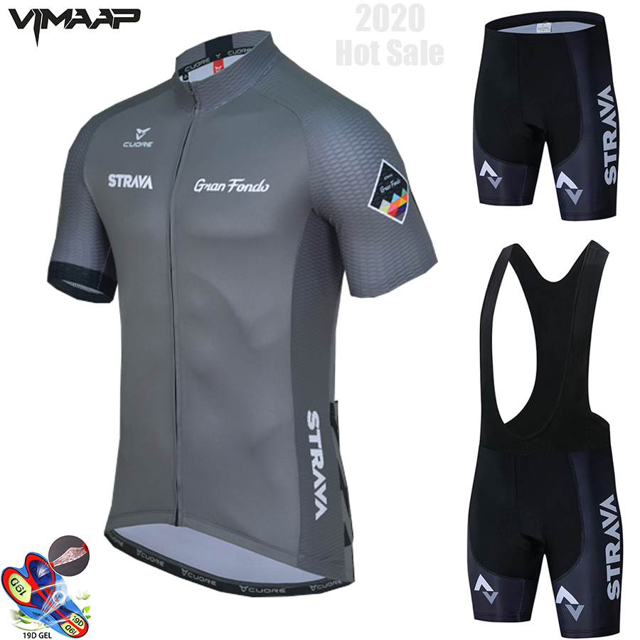 2020 New STRAVA Summer Cycling Jersey Set Breathable Team Racing Sport Bicycle Jersey Mens Cycling Clothing Short Bike Jersey NW 1