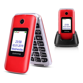 Ushining 3G flip mobile phone for old senior Dual Screen Dual SIM Red Unlocked Senior Phones,Big Button Easy to Use mobile Phone