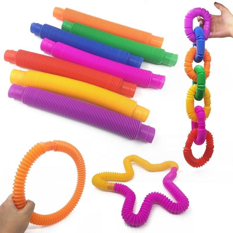 Sensory Toy Fidget-Toys Anti-Stress Fun Relieve Plastic Simple Grip-Ring Bellows Kid img1