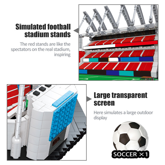 4654pcs City Famous Architecture Soccer Fleld Building Blocks Football Sports Sets Creator Stadium Figures Bricks Toys For Boys