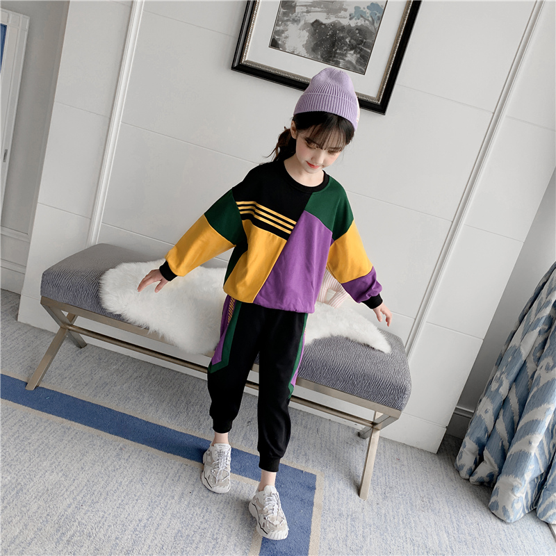 Весенне осенний спортивный комплект для девочек подростков, Повседневная футболка для девочек, костюм с длинными рукавами, Детские модные