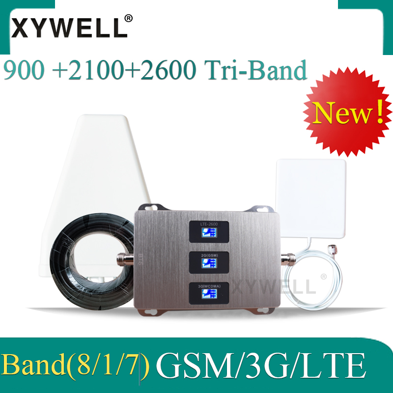 Russia 4g Signal Booster 2G 3G 4G 900 2100 2600 GSM UMTS LTE Tri Band GSM Mobile Signal Booster Repeater GSM 3g 4g Amplifier