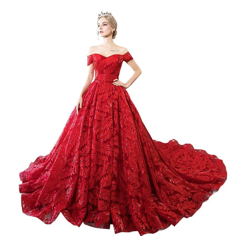 Wedding Dress 2020 New Red Luxury Bride Dress Elegnat Boat Neck Sweep Train Ball Gown Princess Luxury Dresses Vestido De Noiva