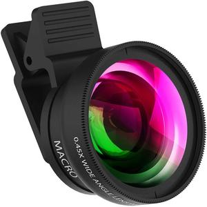 new4K HD Super 12.5X Macro Lens for Smartphone Anti-Distortion 0.45X Wide Angle Lens Optical Glass Mobile Phone Camera Lente Kit