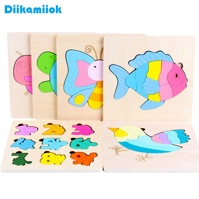 New Hot Sale Baby 3D Wooden Puzzle Wood Jigsaw Memory Training Game Board Baby Montessori Learning Educational Toys for Children
