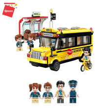 Qman 1136 Mini City Street Scene School Bus Miniature Building Block Brick Figures Educational 3D Mo