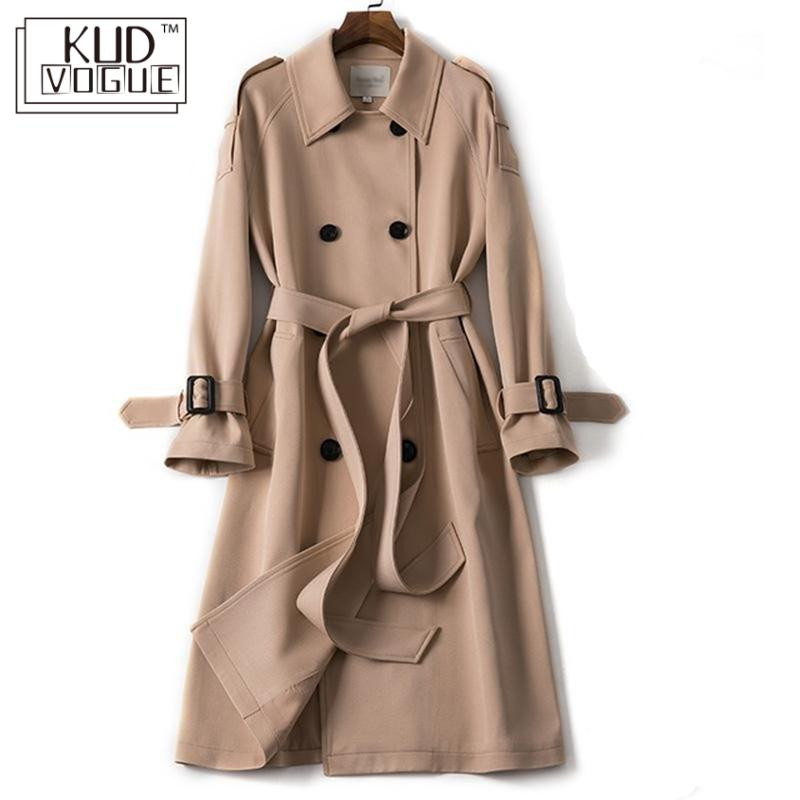 Classic Windbreaker Women Long Trench Coat Double Breasted Belt Casual Trench 2019 Spring Lady Overcoat Business Outerwear Black