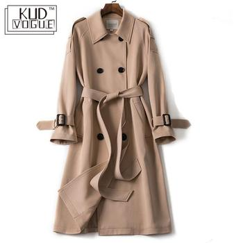 Classic Windbreaker Women Long Trench Coat Double Breasted Belt Casual 2019 Spring Lady overcoat Business Outerwear Black