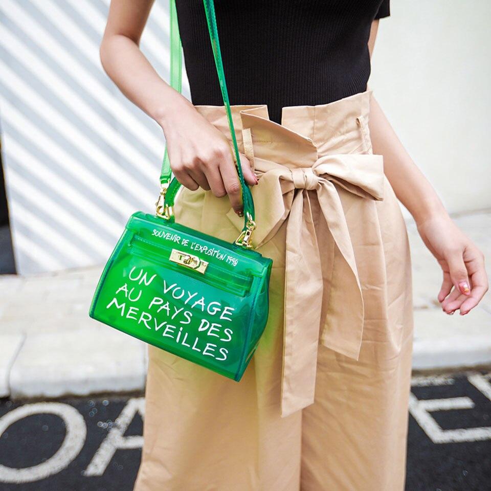 Clair Transparent sacs en PVC pour femmes sac à main mode lettre imprimé gelée sac à bandoulière femme fourre-tout sacs à bandoulière couleur bonbon