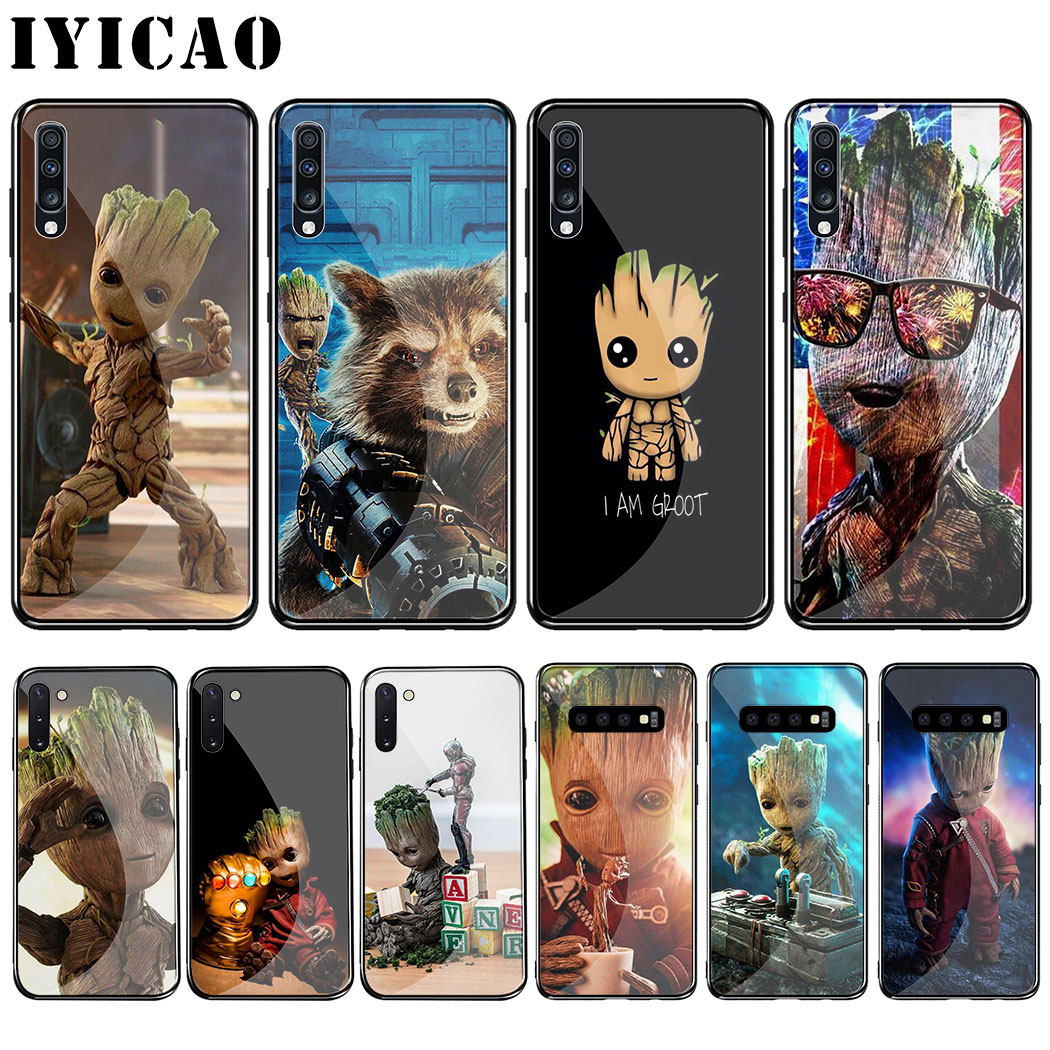 L27 Marvel I Am Groot Tempered <font><b>Glass</b></font> <font><b>Case</b></font> for <font><b>Samsung</b></font> Galaxy A70 A60 <font><b>A50</b></font> A40 A30 A20 A10 S8 S9 S10 Note 8 9 10 Plus <font><b>Case</b></font> image