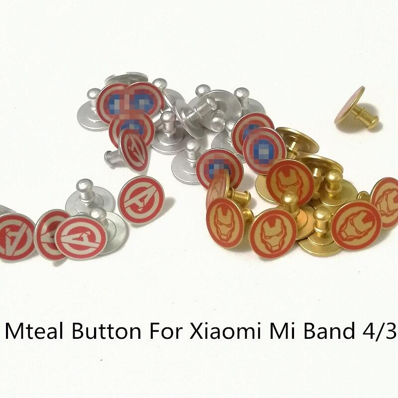 FIFATA Cute Cartoon Pattern Metal Button For Xiaomi Mi Band 4 Smart Watch Replacement Accessories For Xiaomi Mi Band 3 Wristband