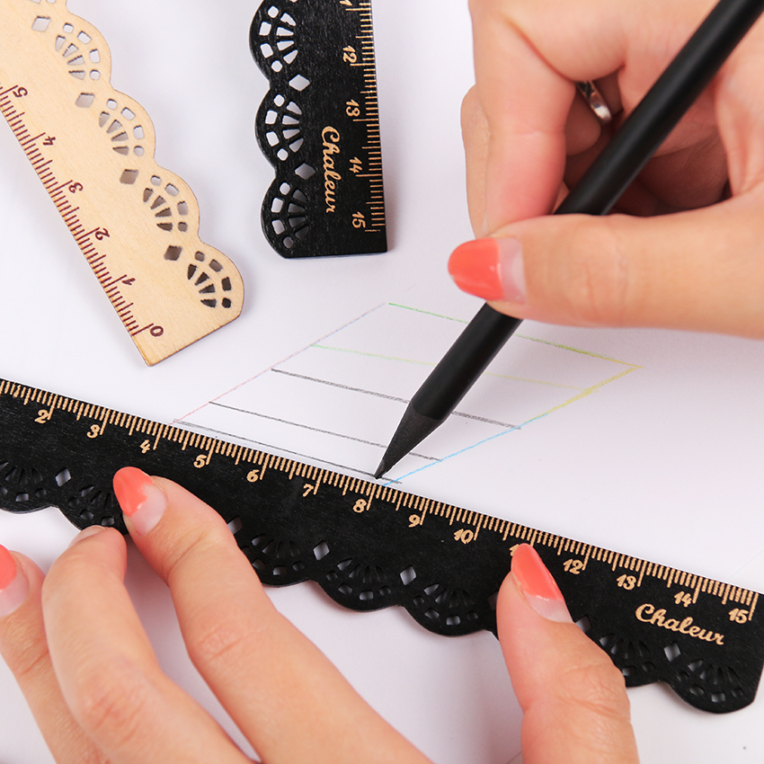 Korea Zakka Kawaii Cute Stationery Lace Brown Wood Ruler Sewing Ruler Office School Accessories 1PC
