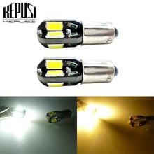 цена на 2pcs T4W BA9S 5630 5730 SMD 8 LED Interior Dome Bulb LED Car Parking Light Door Lamp 12V Yellow Amber Warm White