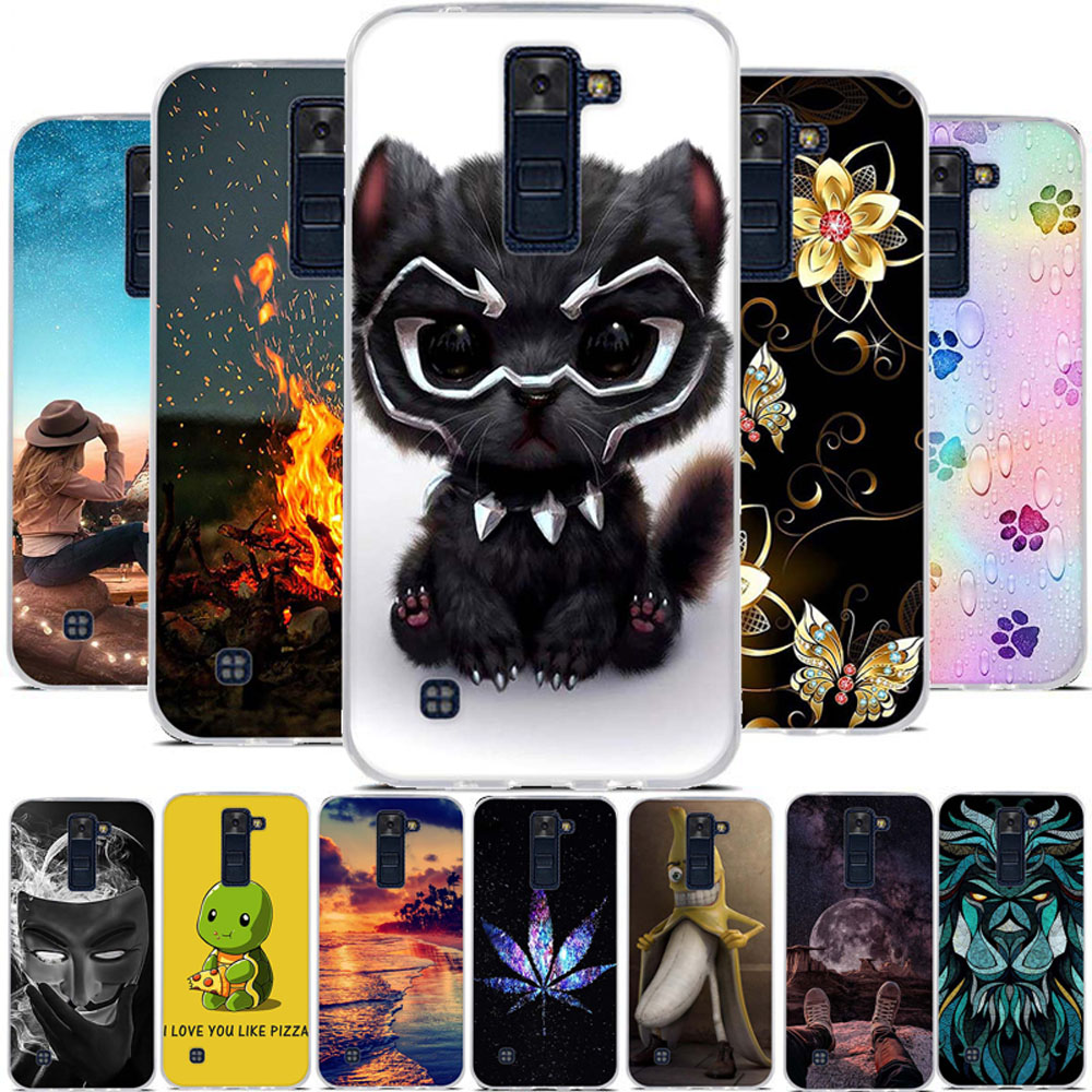 For LG K8 2016 Silicone Housing Case Funda TPU For LG K8 3D Relief Cartoon 3D Print For LG K 8 Bumper 5.0 Inch Cover Bumper Case