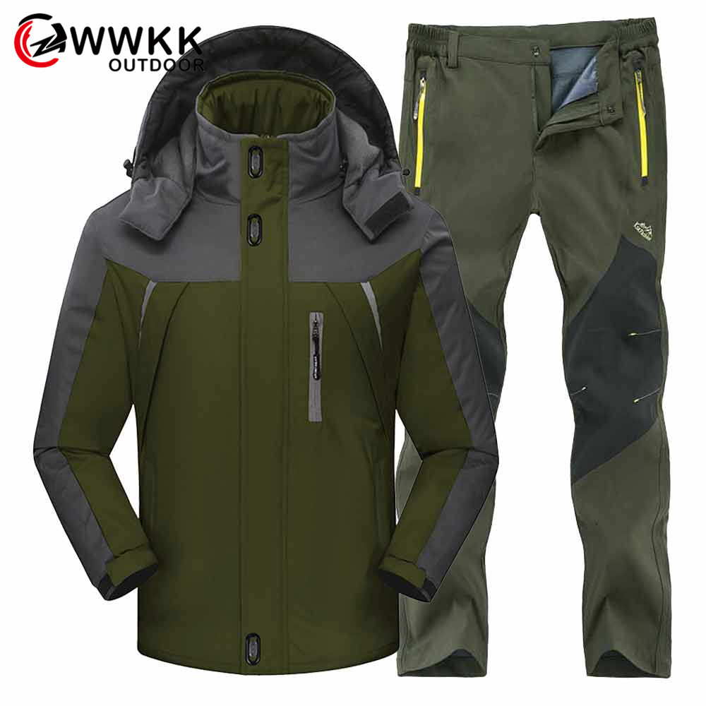 Men Winter Waterproof Fishing Skiing Warm Softshell Fleece Hiking Jackets Male Outdoor Trekking Pant Camping Jacket Set 4XL Suit
