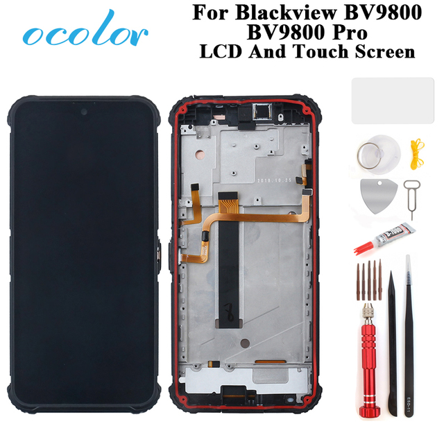 ocolor For Blackview BV9800 BV9800 Pro​ LCD Display And Touch Screen Digitizer Assembly Replacement With Frame + Tools +Glue