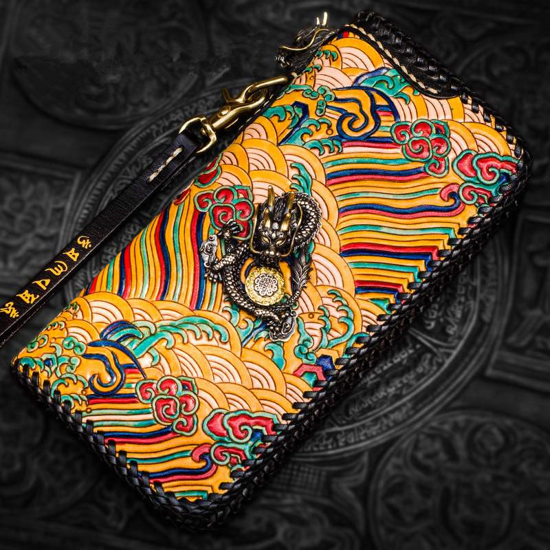 Women Men Genuine Leather Wave Wallets Carving Imperial Robe Color Bag Purses Long Clutch Vegetable Tanned Leather Wallet