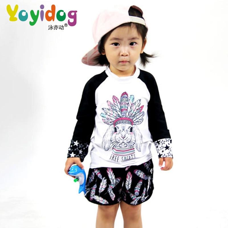 New Style KID'S Swimwear Women's Cute Sweet Indian Feather Pattern Children Split Skirt-Shorts Swimwear