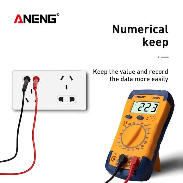 ANENG A830L Profesional Current Tester 부저 기능이있는 발광 디스플레이 디지털 AC/DC 전압 다이오드 주파수 멀티 테스터