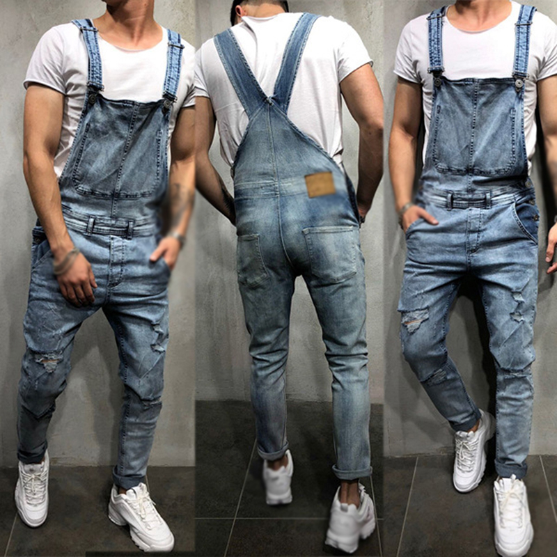 Stretch Jeans Mens Trousers Wild Retro Men's Jeans Streetwear Men Dungarees Jeans Denim Overalls For Men Jean Jumpsuit Straps