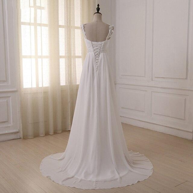 Jiayigong Beach Wedding Dress vestido de noiva In Stock Plus Size Spaghetti Straps Beading Chiffon Wedding Gowns Bridal Dresses 2