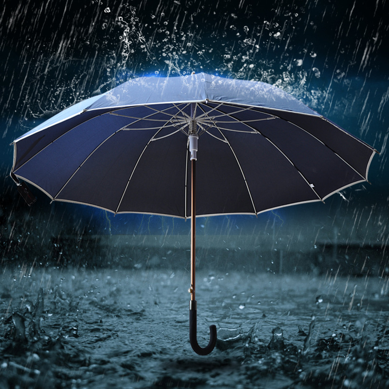Factory Wholesale 12K Long Handle Umbrella Men's Golf Curved Handle Business Reflective Edge Advertising Umbrella Printed Words