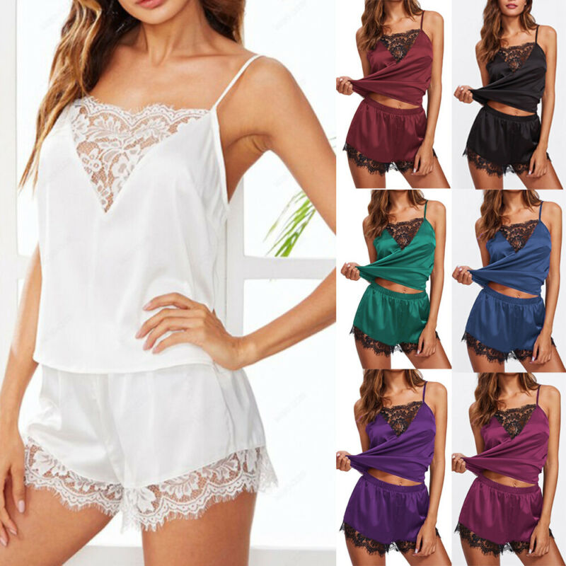 Summer Ladies 2 Piece Satin Silk Pyjama Set Vest Lace Shorts Women's Satin PJ Nightwear Sleepwear