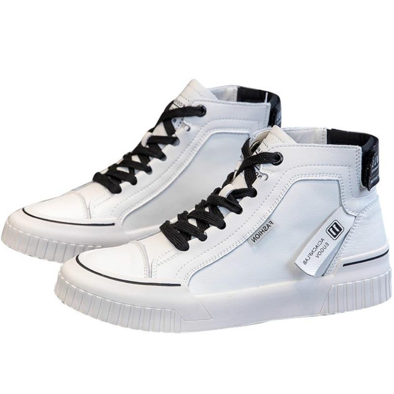 Женская Повседневная обувь высокие кроссовки модные женские однотонные белые кроссовки на плоской подошве со шнуровкой обувь из искусстве