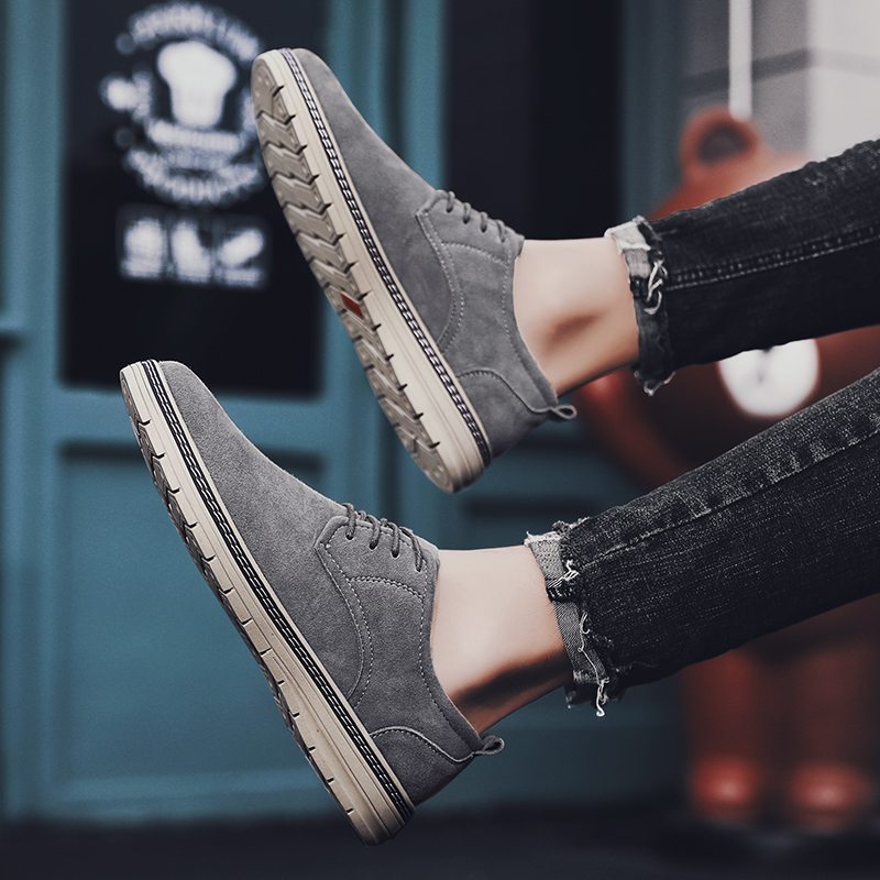 Mens Shoes Suede 2020 Spring Autumn Lace-up Solid Leisure Walk Casual Shoes Men Brand Breathable Non-Slip Zapatos Para Hombre