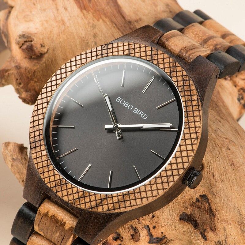 BOBO BIRD Wood Watch Men bayan kol saati Quartz Mens Watches with Luminous Hands in Wooden Gifts Box WD30-1