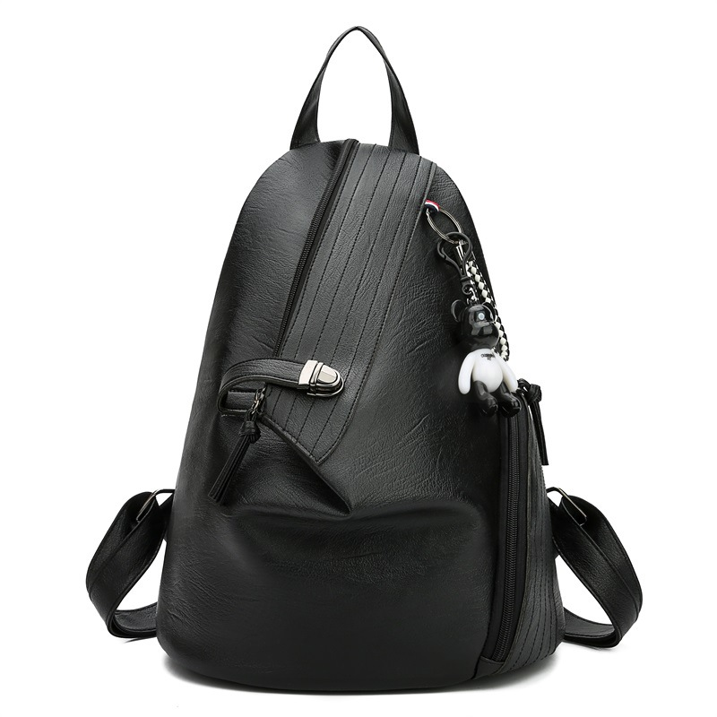 2020 New Backpack Female Simple Solid Color Large Capacity School Bag Fashion Personality Anti-theft Travel Bag