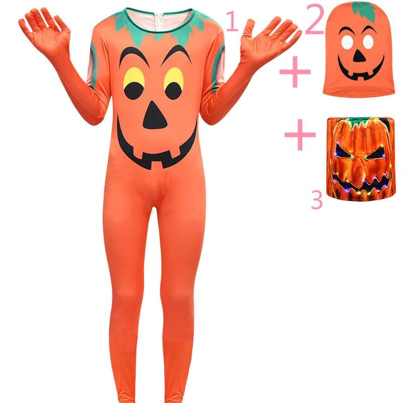 Halloween pumpkin cosplay kids clothes LED light headgear  Pumpkin one-piece sets