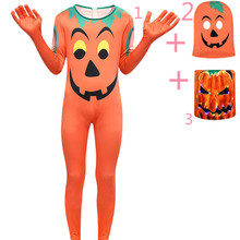 Halloween pumpkin cosplay kids clothes LED light headgear  Pumpkin one-piece sets