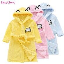 Фланелевая Детская одежда Детский банный халат из флиса с длинными рукавами и капюшоном для мальчиков и девочек милый детский халат Детская Пижама