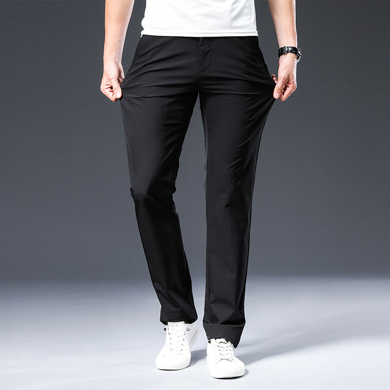 BROWON 2021 New Arrival Men's Pant Spring Summer Breathable Solid Color Mid Straight Loose Men Trousers Plus Size 42