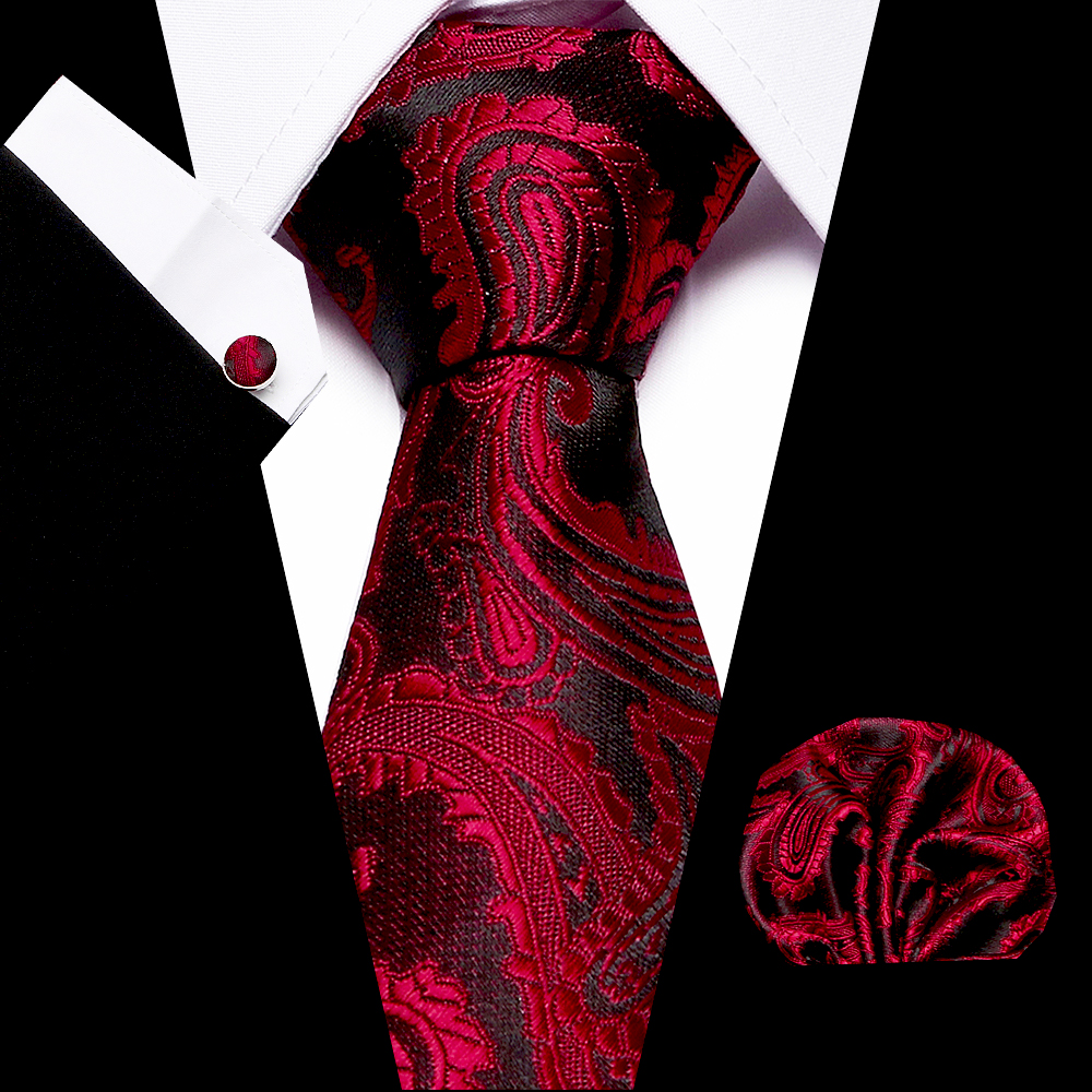 Wedding Men`s Tie 100% Silk Red Plaid Print Jacquard Woven Tie + Hanky + Cufflinks Sets For Formal Dress Accessories Business