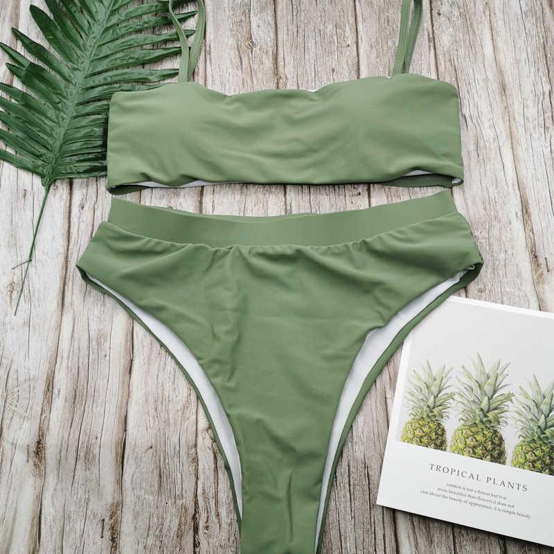 Sexy de cintura alta Bikini traje de baño Popular traje de baño Bikini dos piezas sólido alto calidad traje de baño de moda de las mujeres abrigos