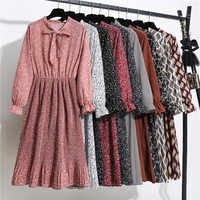 summer dress women chiffon Vintage Dot Floral long sleeve V neck Pleated office beach dresses party dress Vestidos black red