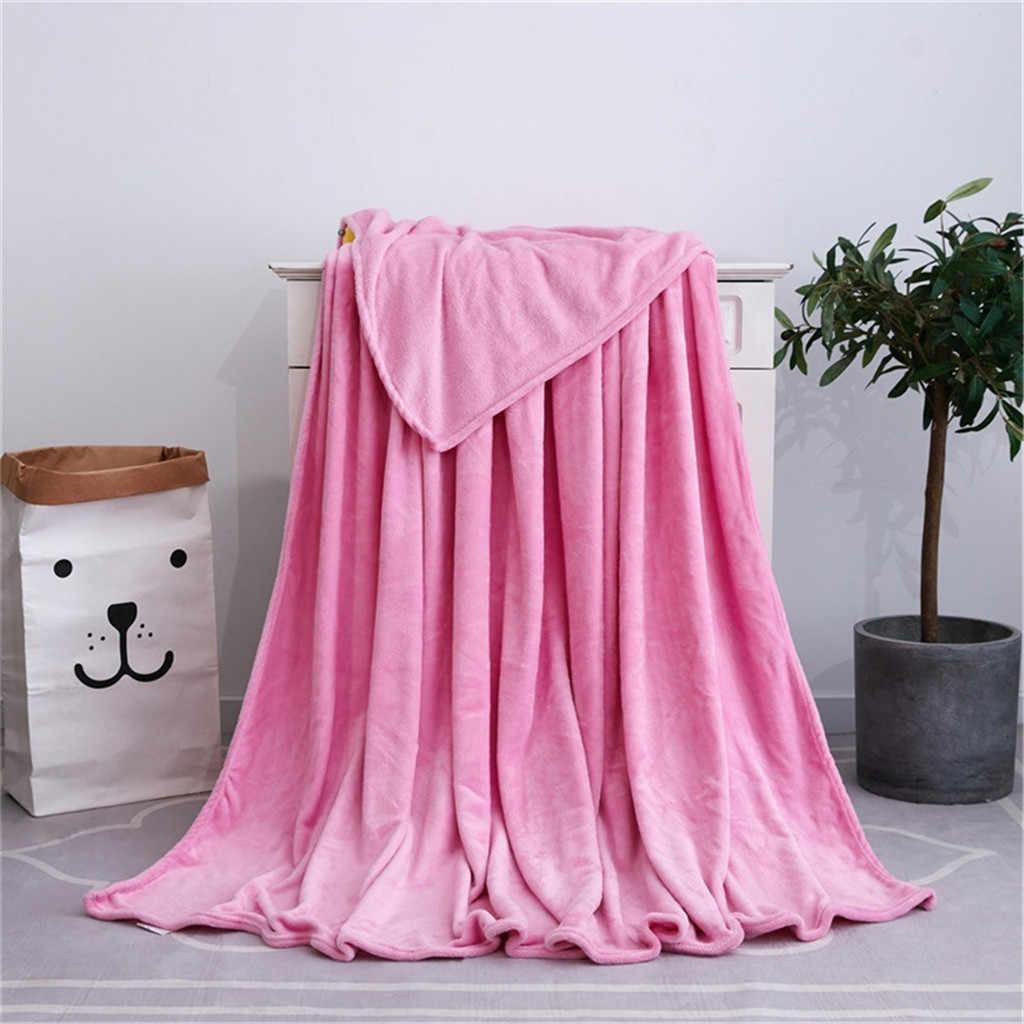 Sólido macio sala de estar quarto ar condicionado dormir cobrir cobertores cama para sofá cama joga cobertor para adultos crianças