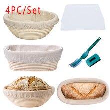 Cesta de pão de rattan artesanal conjunto com forro cesta de prova de pão cestas redondas/oval sourdough provando cesta padaria café