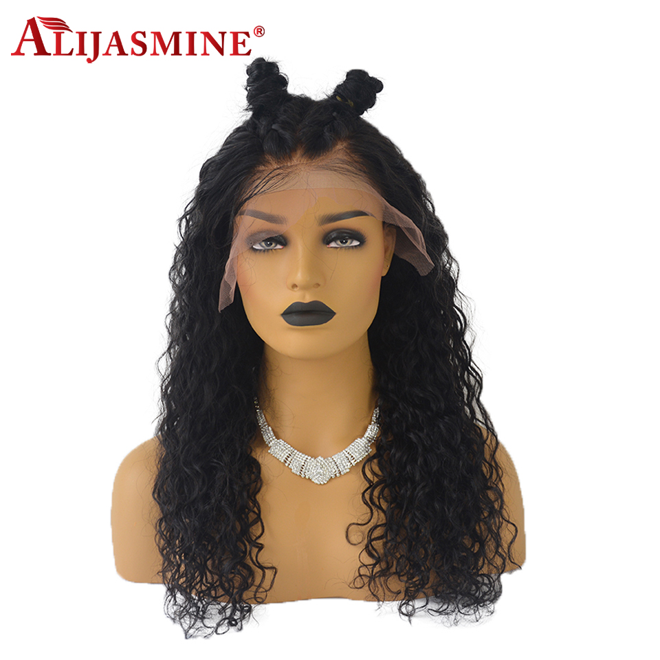 AliJasmine Curly Lace Front Wigs Peruvian Human Hair Wigs For Black Women With Baby Hair Remy Hair Natural Black Color-in Human Hair Lace Wigs from Hair Extensions & Wigs    1