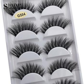 SHIDISHANGPIN 3/5 pairs 100% Real Mink Eyelashes 3D Natural False Eyelashes Mink Lashes Soft Eyelash Extension Makeup Kit Cilios 1