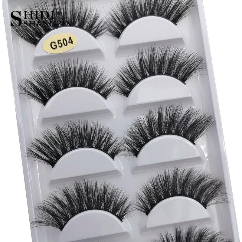 SHIDISHANGPIN 3/5 Pairs 100% Real Mink Eyelashes 3D Natural False Eyelashes Mink Lashes Soft Eyelash Extension Makeup Kit Cilios