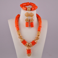 african beads set jewelry natural coral necklace orange coral jewelry set for nigerian wedding 2017 new design handmade coral beads statement necklace set nigerian wedding african beads lace jewelry set free shipping abk849