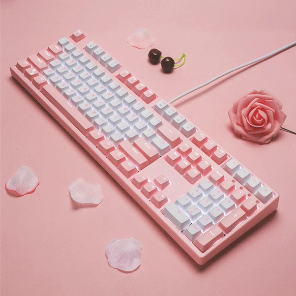 FY108 Pink Real Mechanical <font><b>Keyboard</b></font> USB Wired Computer RU/EN Blue/Brown/Balck/Red Switch Esports Gaming <font><b>Keyboard</b></font> <font><b>87</b></font>/108Key image