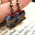 1 пара со шпилькой, креативный, ручная работа, многоцветная книга серьги-подвески для женщин минимодель книги Мода Висячие серьги ювелирные ...