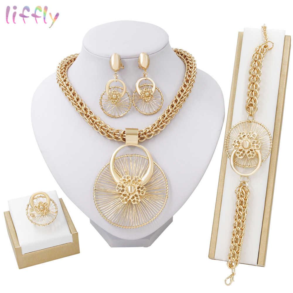 Liffly New Italy Fashion Costume Jewellery African Women Big Necklace Bracelet Rings Earrings Set Dubai Gold Platin Jewelry Sets