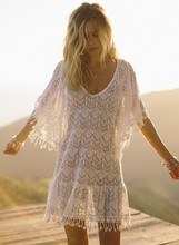New Summer Swimsuit Lace Hollow Crochet Beach Bikini Cover Up Sexy Dress Tops